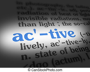 Dictionary - Active Blue On White