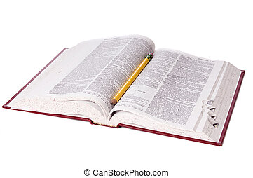 Dictionary - An open dictionary isolated on a white ...