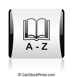 dictionary black and white square web glossy icon