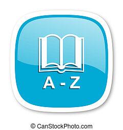 dictionary blue glossy web icon