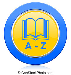 dictionary blue yellow icon