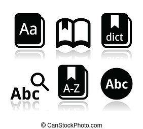 Dictionary book vector icons set - Thesaurus, dictionary ...