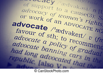 Dictionary definition of advocate. Close up view with paper textures