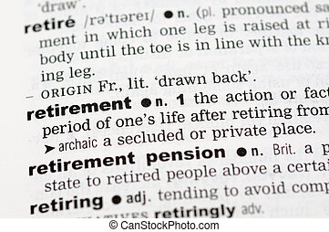 Dictionary definition of retirement