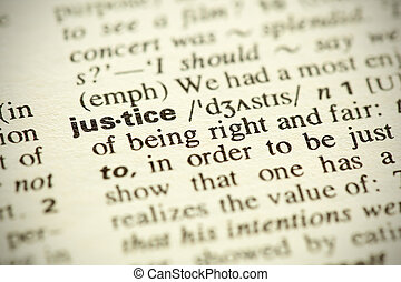 "Dictionary definition of the word ""Justice"" in English"