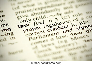 "Dictionary definition of the word ""Law"" - A small DOF image ..."
