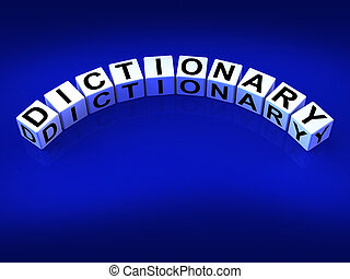 Dictionary Dice Means Meanings Of Words And Reference - ...