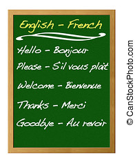 Dictionary english - french.