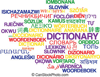 Dictionary multilanguage wordcloud background concept