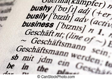 Dictionary - Opened Dictionary with BUSINESS - white...