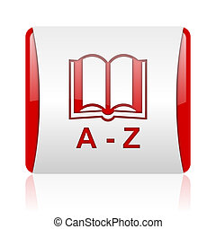 dictionary red and white square web glossy icon