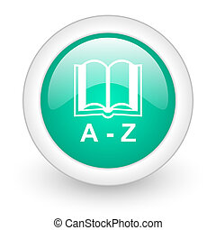 dictionary round glossy web icon on white background
