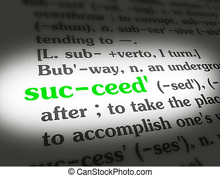 Dictionary Succeed Green On White