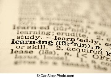 dictionary., tanulás
