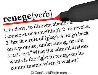 dictionary term of renege