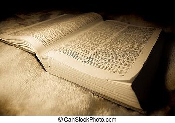 dictionary., vecchio, foto, immagine, polacco, style.