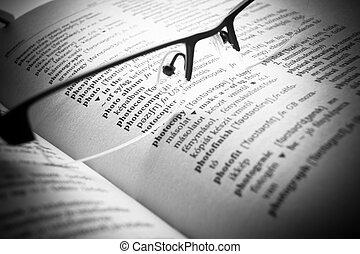 dictionnaire, lettres, haut, livre, fin, ouvert