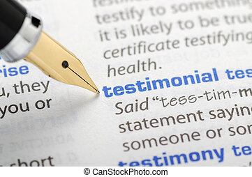 dictionnaire, testimonial, -, série
