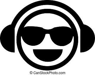 didżej, smiley, sunglasses