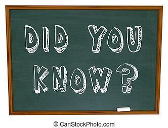 did, dig, veta, ord, på, chalkboard, information, kunskap