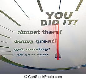 did, motivational, -, ihm, sie, geschwindigkeitsmesser