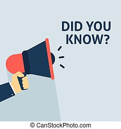 DID YOU KNOW? Announcement. Hand Holding Megaphone With Speech Bubble