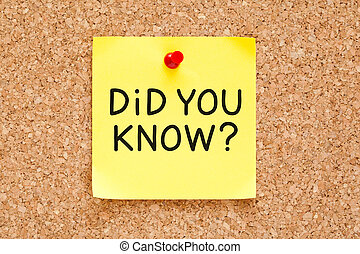 Did You Know Handwritten On Sticky Note - Did You Know...
