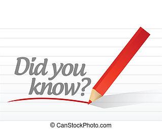did you know written on a white paper. illustration design...