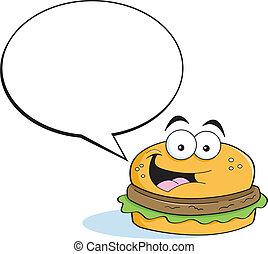 didascalia, hamburger, ba, cartone animato