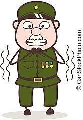 didergés, ábra, vektor, őrmester, félelem, karikatúra