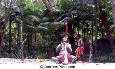 didgeridoo, aborigène, jeu, homme