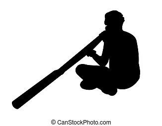 didgeridoo, aborigeno, gioco, uomo
