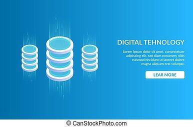 Didgital tehnology. Concept of big data processing, energy station of future, server room rack, data center. Isometric vector illustration.