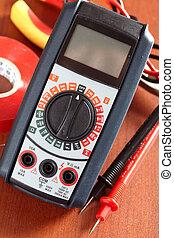Digital volt meter, electrical tool, tape