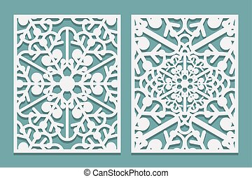 Die and laser cut ornamental panels with snowflakes pattern. Laser cutting decorative lacy borders patterns. Set of Wedding Invitation or greeting card templates.
