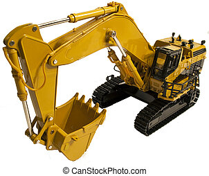 Die Cast Model of an Excavator with its bucket retracted