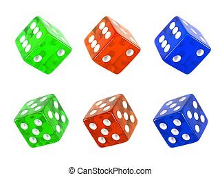 Colored die isolated against a white background