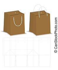 die-cut, mockup, verpackung, tasche, papier, 3d
