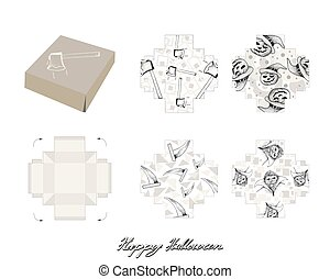 Die Cut Template Pattern of Takeaway Carton Box Mock Up for Package Design with Jack-o-Lantern Pumpkins, Vampire and Items for Halloween Celebration Party.
