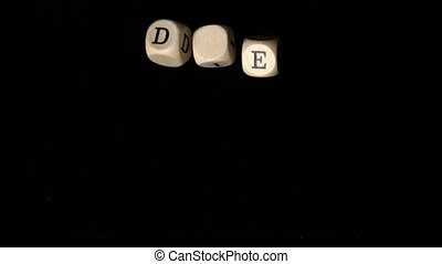 Die dice falling together in slow motion