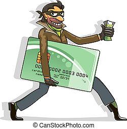 dieb, steals, kreditkarte, und, geld