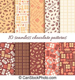 dieci, cioccolato, astratto, set, modelli, seamless
