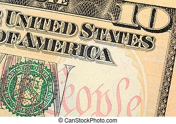 dieci dollaro bill, closeup