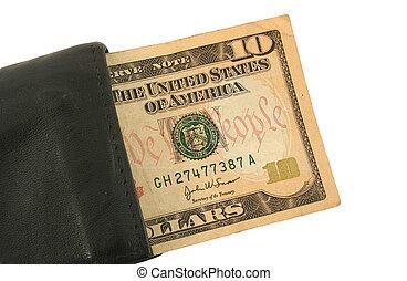 dieci dollaro bill, e, portafoglio