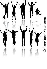 dieci, silhouette, di, persone saltando