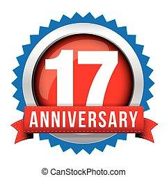 diecisiete, aniversario, años, cinta, insignia, rojo