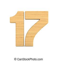 diecisiete, número, ilustración, aislado, fondo., blanco, 3d