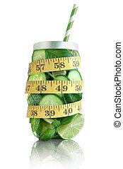 dieet, concept, detoxicatie, smoothie