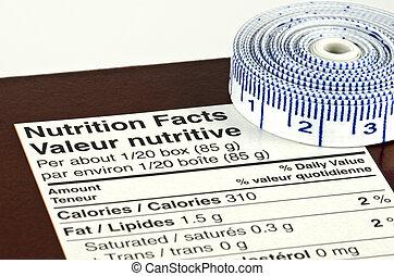dieet, concept, met, voeding feiten, en, rolmeter