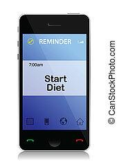 dieet, herinnering, telefoon